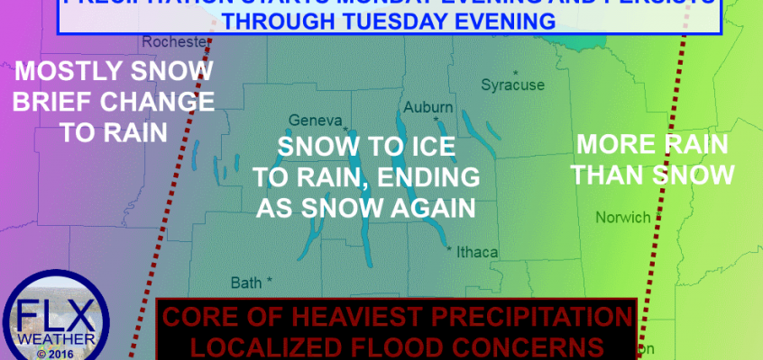 Snow, ice and heavy rain in FLX Monday into Tuesday