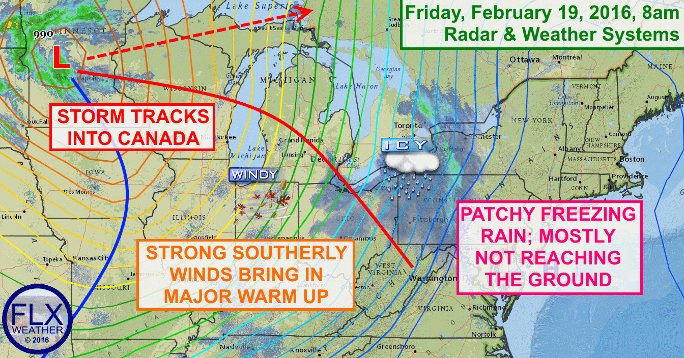 Spotty freezing rain will be possible on Friday across the Finger Lakes as warmer air moves in.