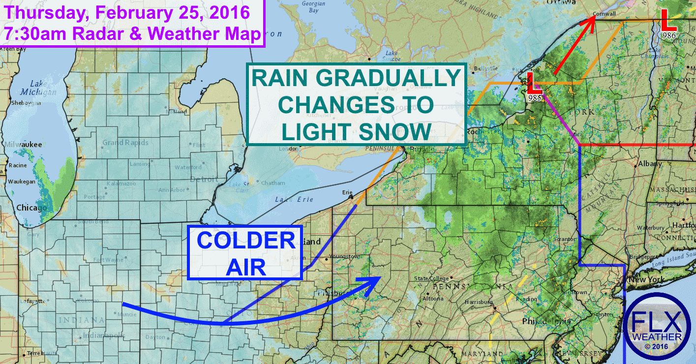 Rain showers will turn to flurries on Thursday across the Finger Lakes with only minor accumulations of snow expected.