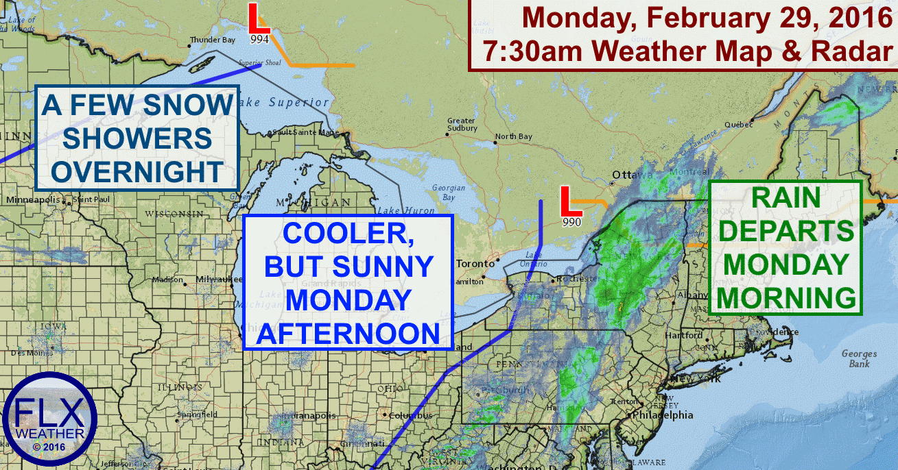 A cold front will cross the area early Monday morning with some rain showers, but the sun will be out this afternoon.