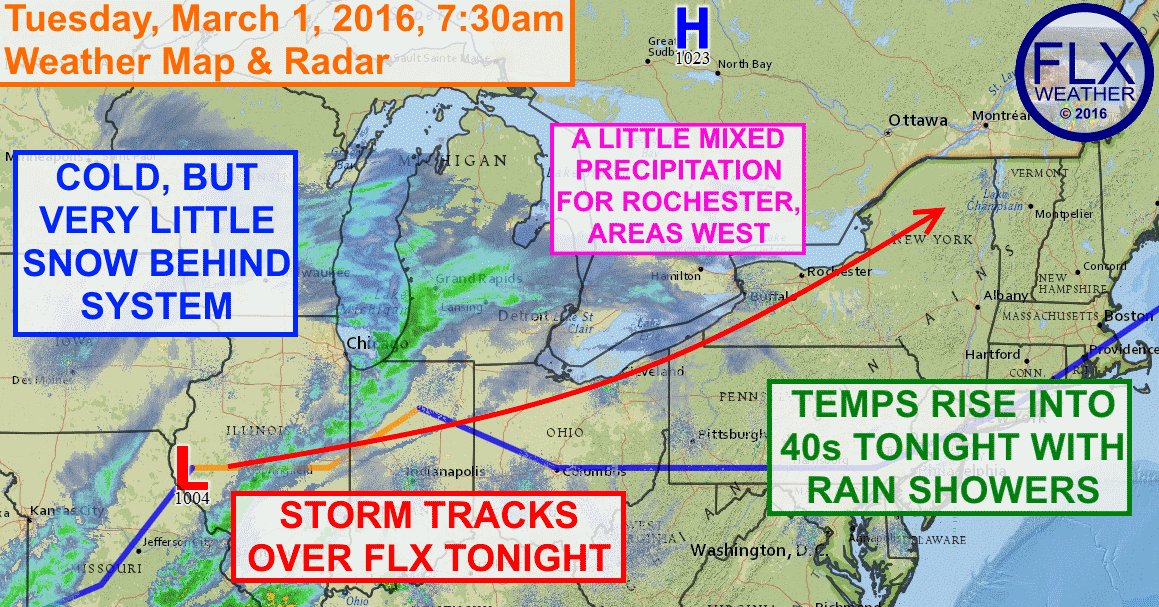Low pressure will track over the Finger Lakes tonight, keeping temperatures warm enough for mostly rain, and keeping heavy precipitation away.