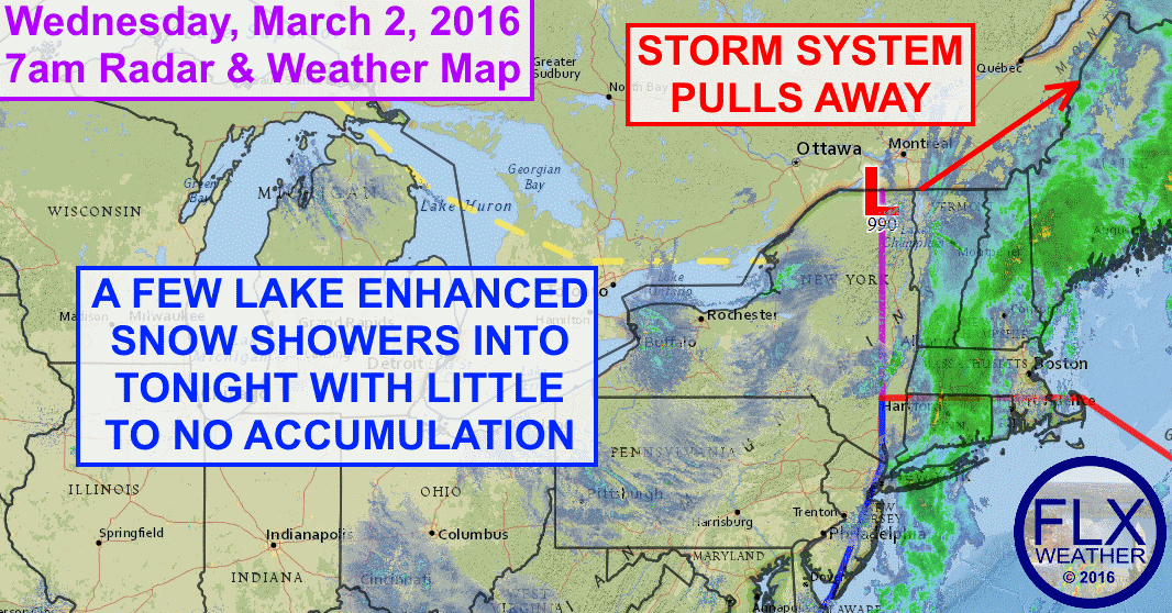 Cold air streaming in behind low pressure will produce some lake enhanced snow showers today and tonight.