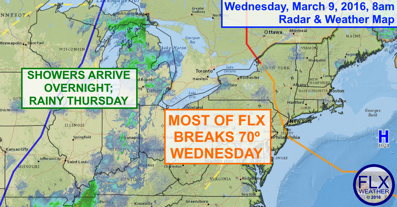 Most of the Finger Lakes will see temperatures rise into the low 70s this afternoon.