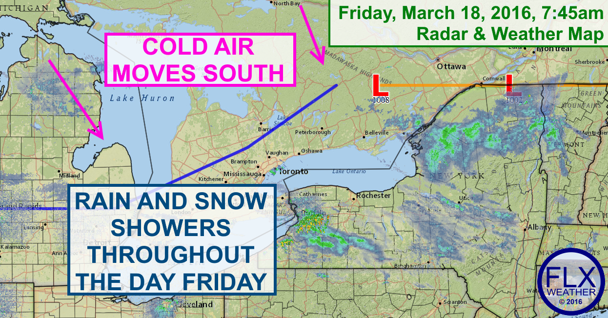 A cold front will spread rain and snow showers across the region on Friday, followed by a cold, but sunny Saturday.