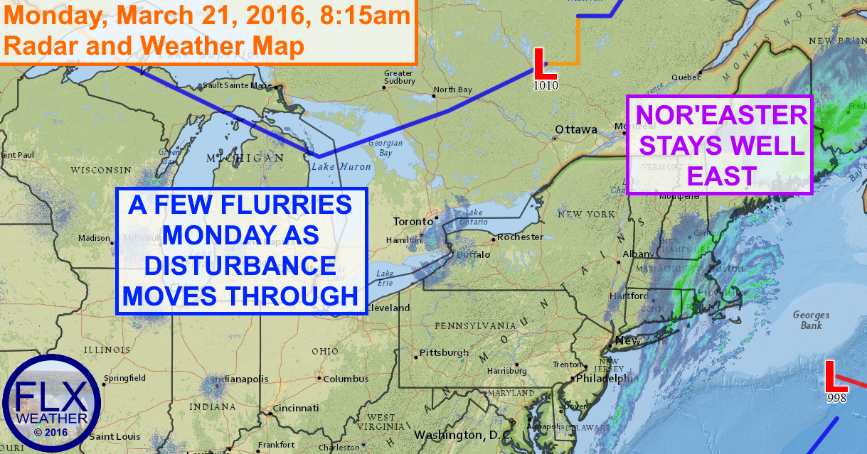 A few snow showers from a weak disturbance will drift through the Finger Lakes on Monday.