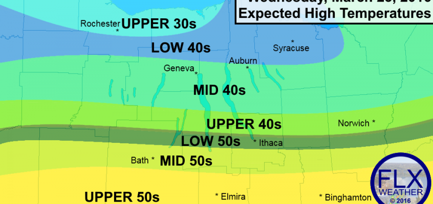 Wide range of temperatures across the Finger Lakes Wednesday