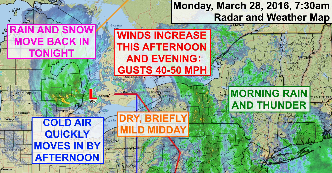 A strong storm will bring a variety of weather to the Finger Lakes on Monday to kick off a windy, active week.