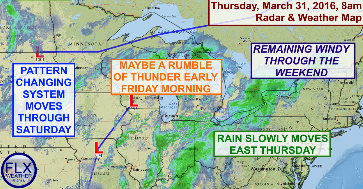 Rain will push into the Finger Lakes on Thursday, the first of several days of active weather.