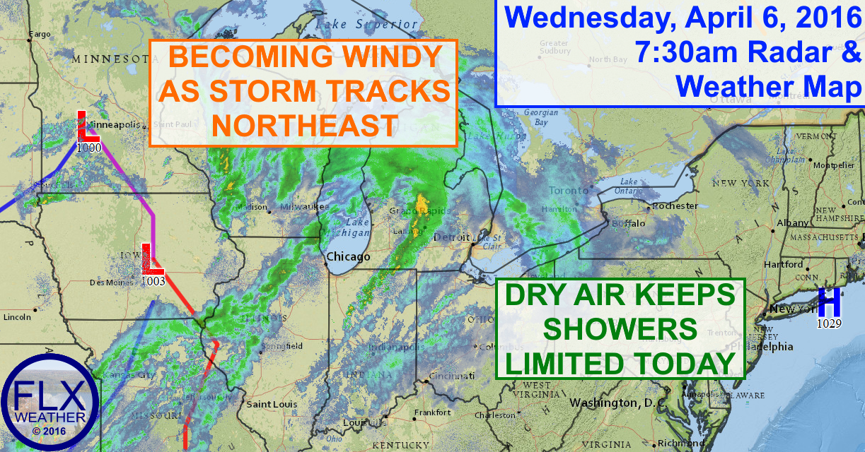 A storm system moving into the Great Lakes will produce windy conditions and a little precipitation for the Finger Lakes.