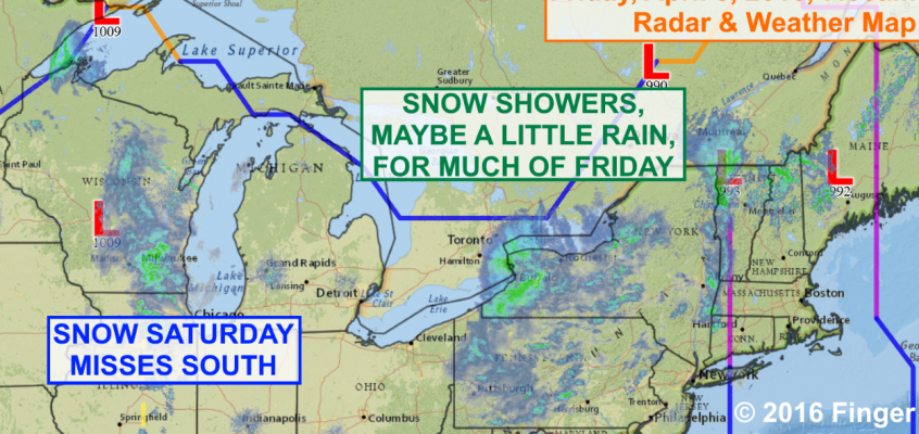 Snow showers fly across Finger Lakes Friday