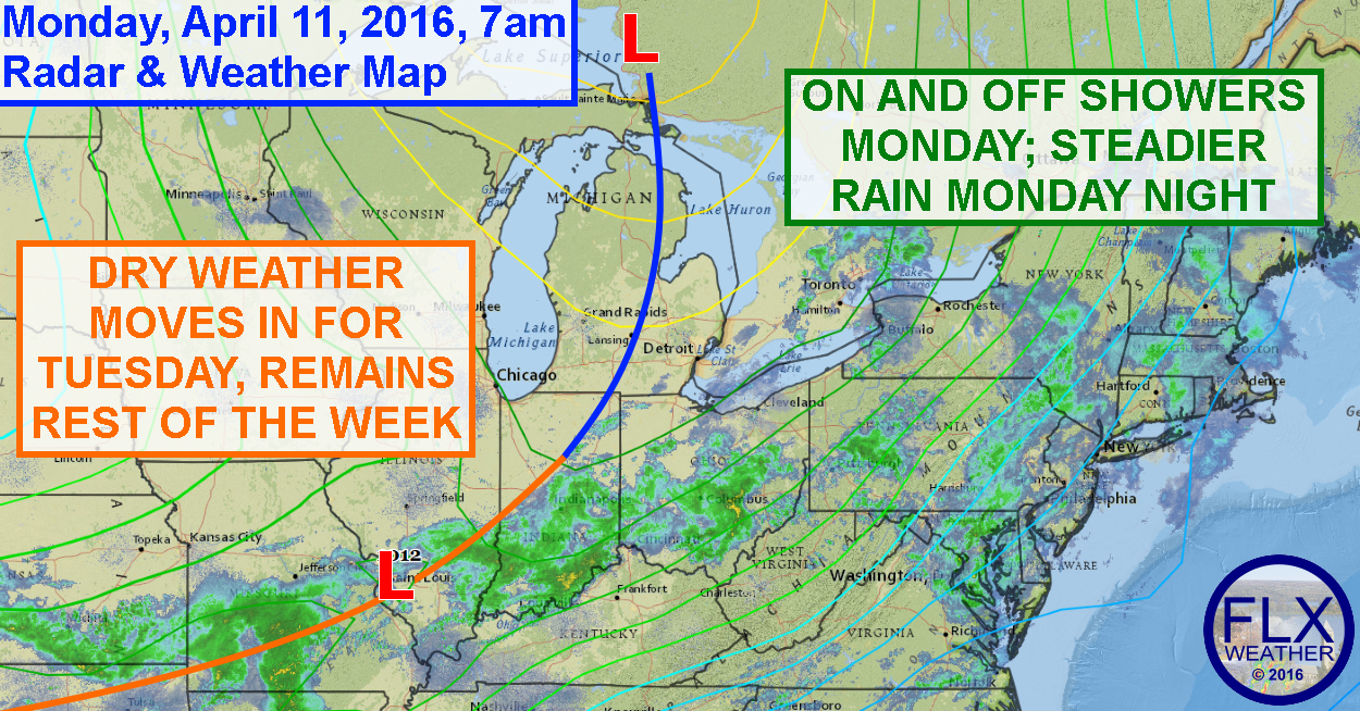 Rain showers will be persistent across the Finger Lakes on Monday, but gradually improving conditions are on the way.