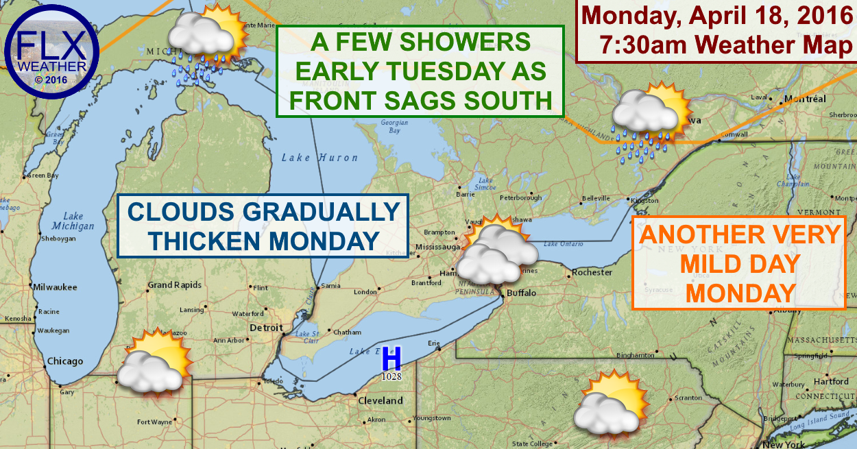 Clouds will increase on Monday ahead of a front set to move through early Tuesday.