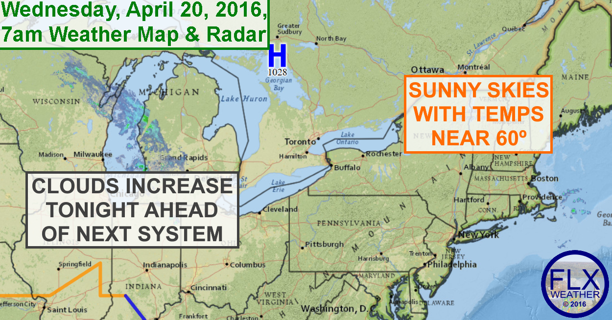 High pressure will bring yet another lovely day to the FLX on Wednesday.