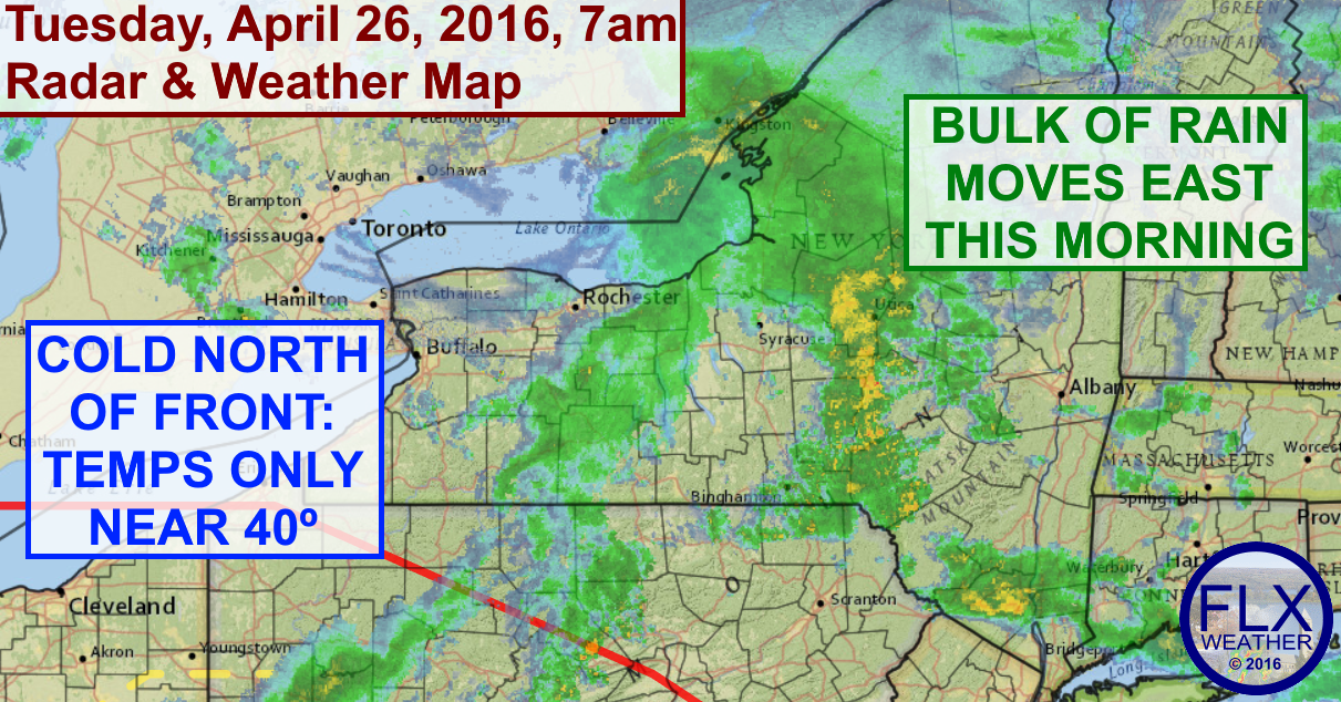 Temperatures will drop to around 40 degrees this afternoon as rain pushes east.