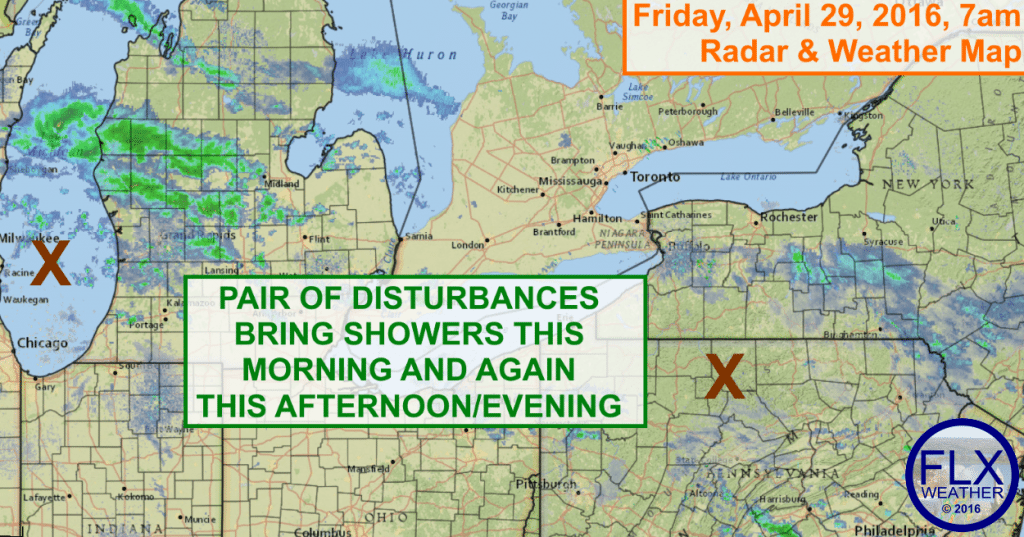 Two disturbances will spread some light rain showers across the Finger Lakes on Friday.