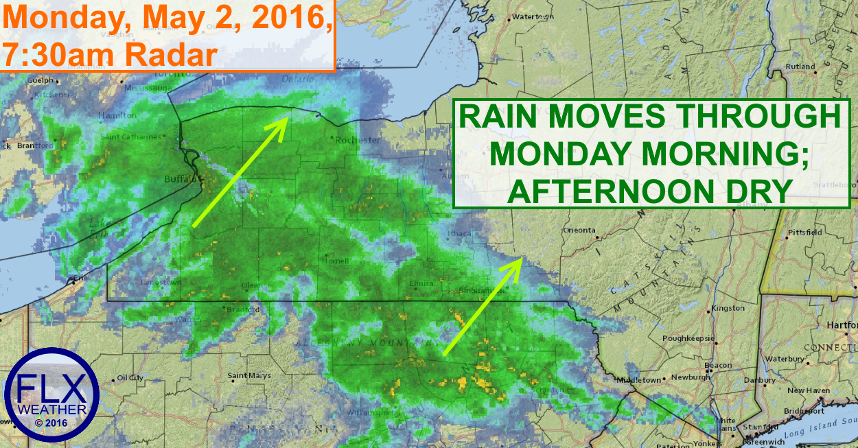 Rain will move through the Finger Lakes Monday morning.