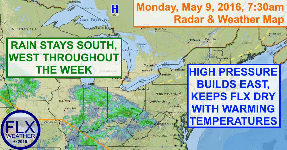 High pressure will gradually bring in warmer temperatures to go along with dry, sunny weather.