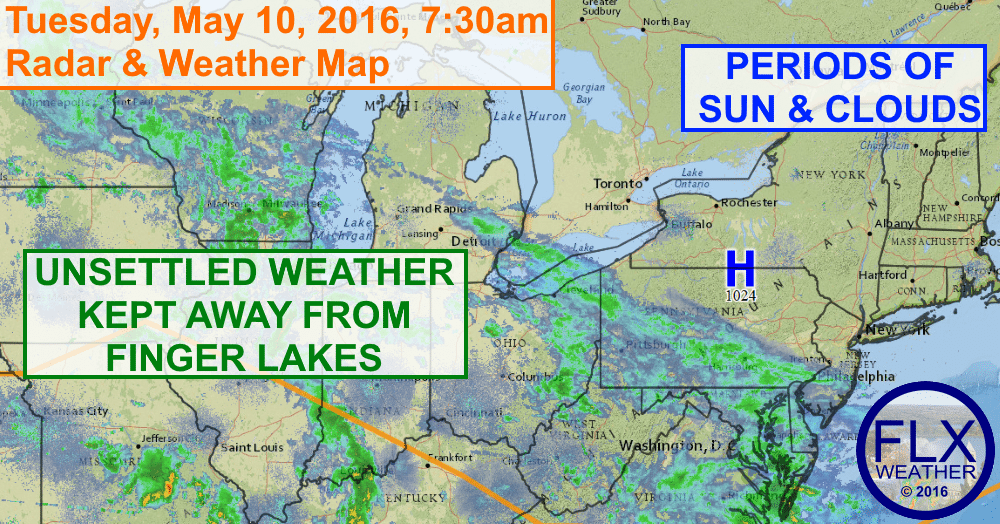 A large area of unsettled weather on the doorstep of the Finger Lakes will be kept away by high pressure.