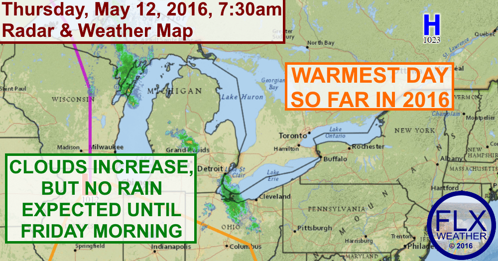 Thursday will be the warmest day so far in 2016 for most areas as temperatures push towards 80 degrees.