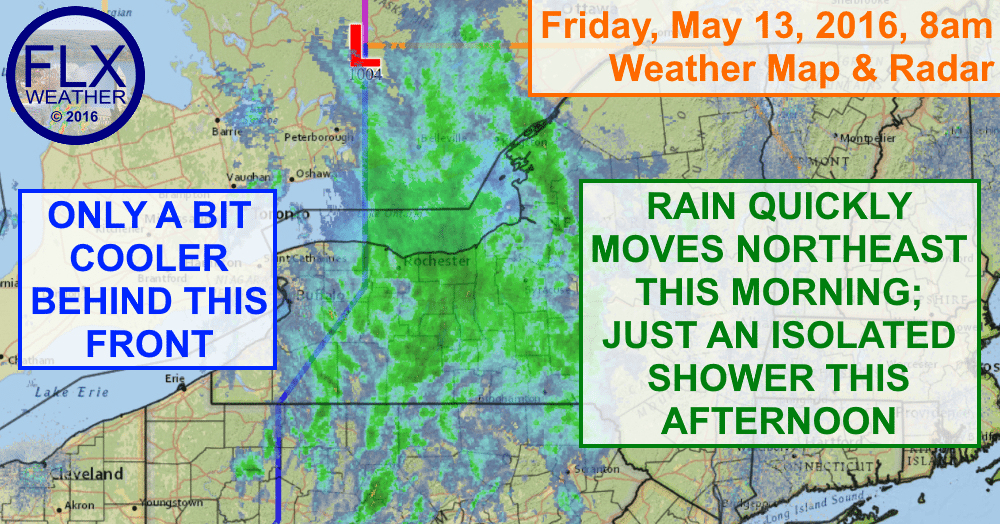 Rain is moving through the Finger Lakes Friday morning, but the afternoon will be mostly dry.