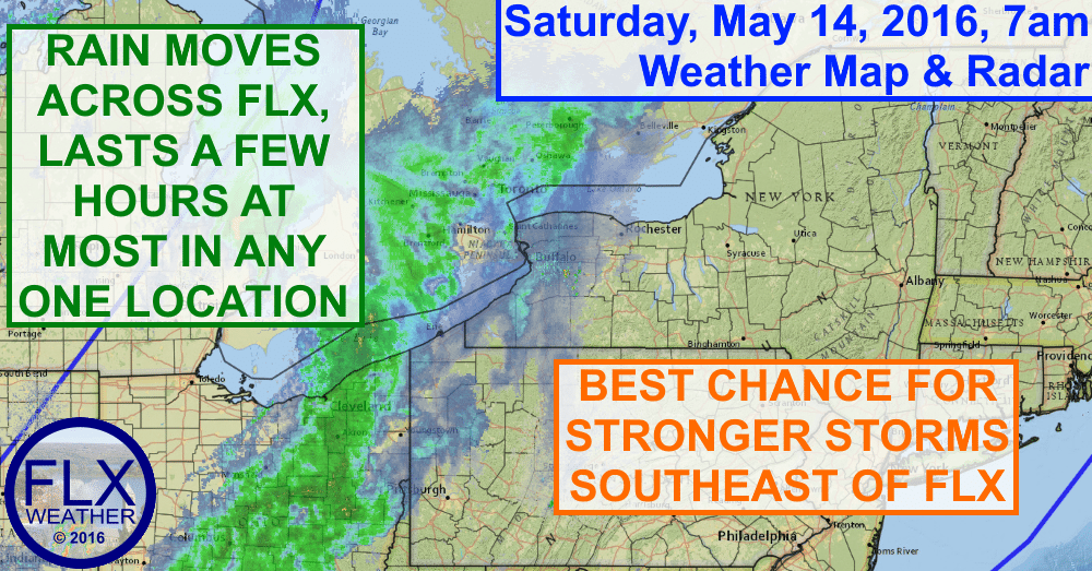 Rain will move through the Finger Lakes today along a strong cold front.