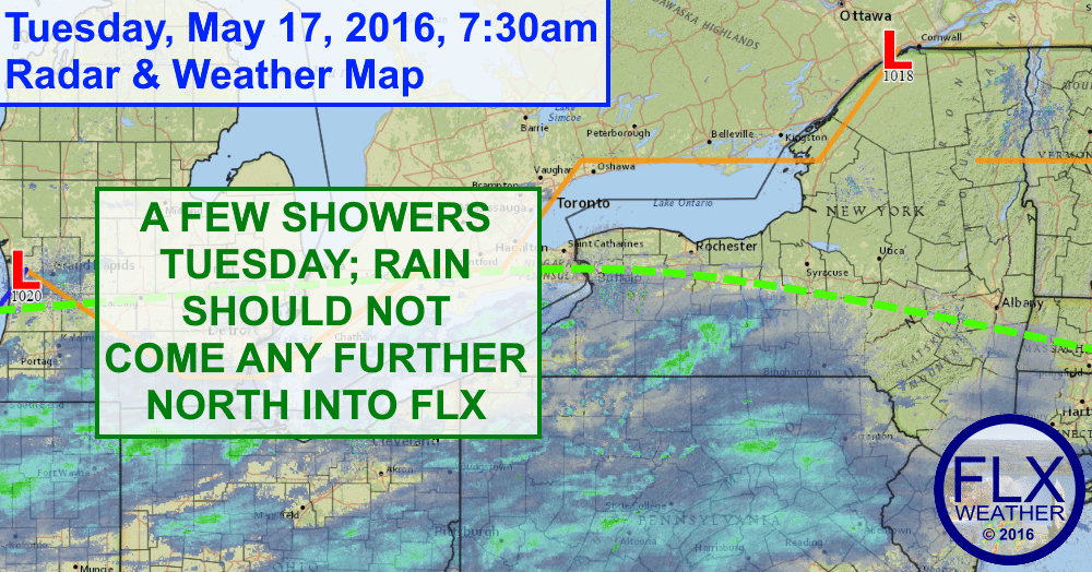 The southern half of the Finger Lakes will have to contend with a few light rain showers Tuesday.