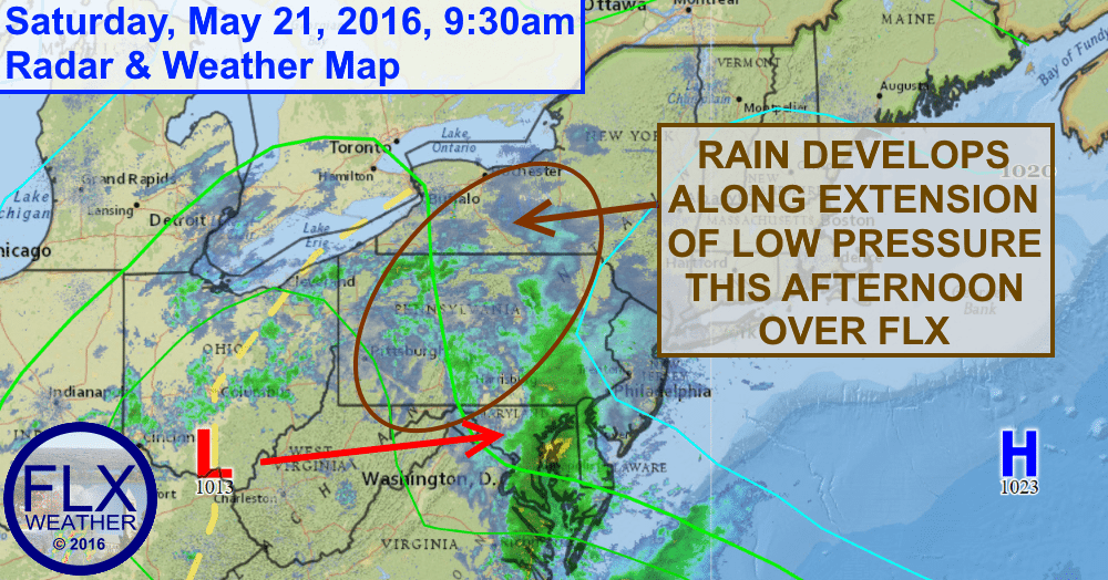 Rain will develop across the Finger Lakes this afternoon as a trough of low pressure moves through.