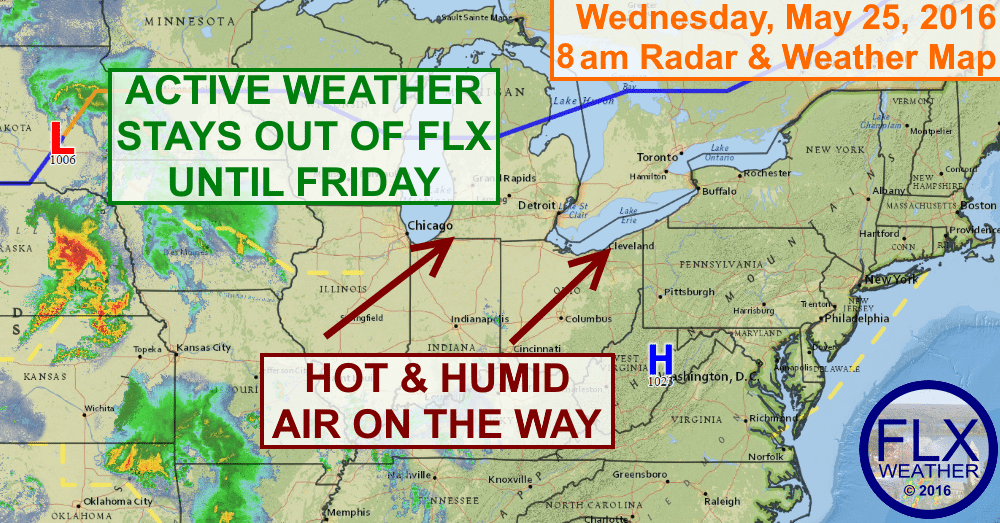 Heat and humidity will be on the rise over the next few days, with thunderstorms becoming more likely by the weekend.