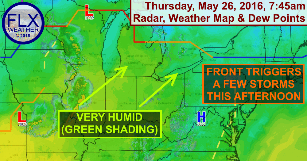 Thunderstorms may be possible Thursday afternoon as very humid air pushes northeast towards the Finger Lakes.
