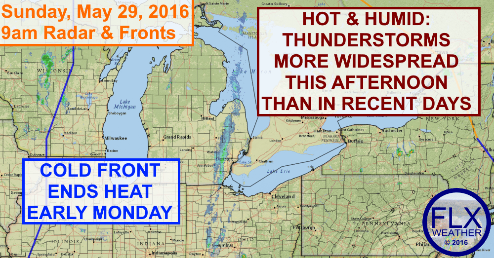 Hot and humid conditions will couple with upper atmospheric support for thunderstorms this afternoon.