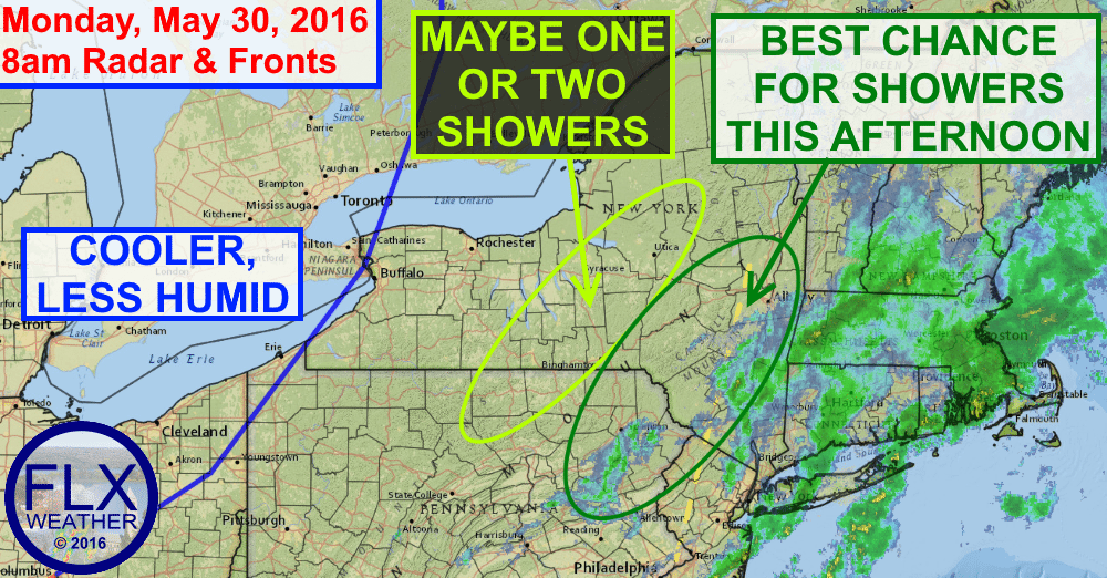 Most of the Finger Lakes will enjoy a rain free, less humid Memorial Day.