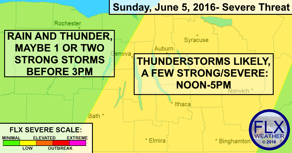Scattered severe thunderstorms will be possible over the eastern Finger Lakes this afternoon.