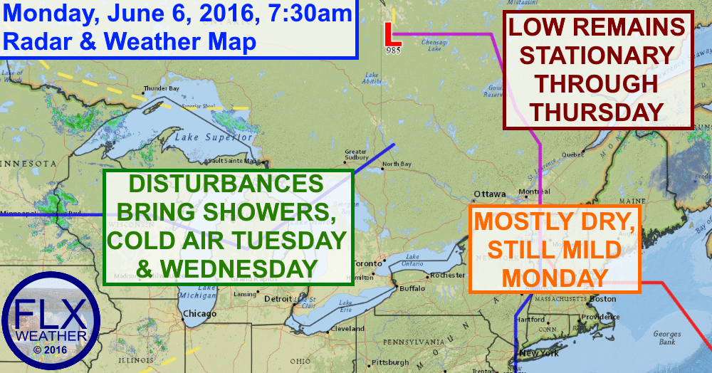 Low pressure north of the Finger Lakes will deliver a shot of cold air by midweek.