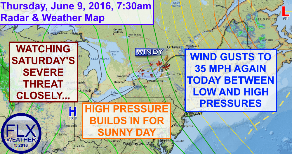 Winds will gust to 35 mph again on Thursday as temperatures push into the low and mid 60s.