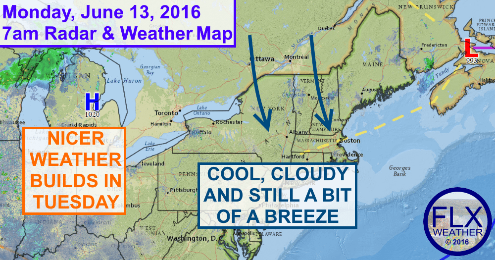 It will again be a cloudy, chilly day in the Finger Lakes on Monday, but nicer weather awaits.
