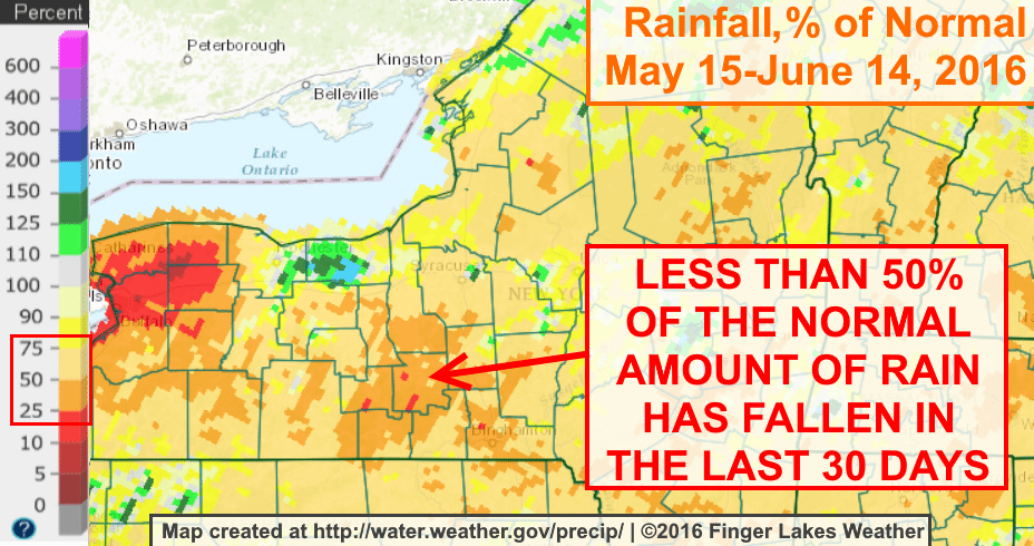 Most of the Finger Lakes has only gotten around 50% of the normal amount of rain during the last 30 days.
