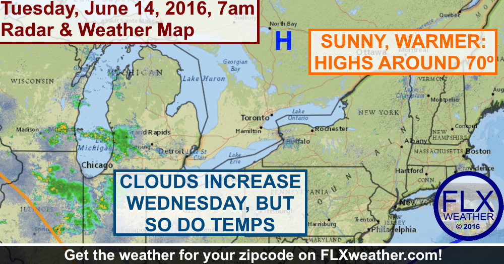 High pressure will keep the Finger Lakes sunny with highs around 70 degrees on Tuesday.