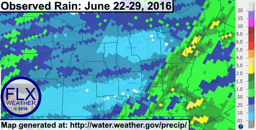 Rainfall during the last week was insignificant across the Finger Lakes, while areas to the east saw some beneficial downpours.