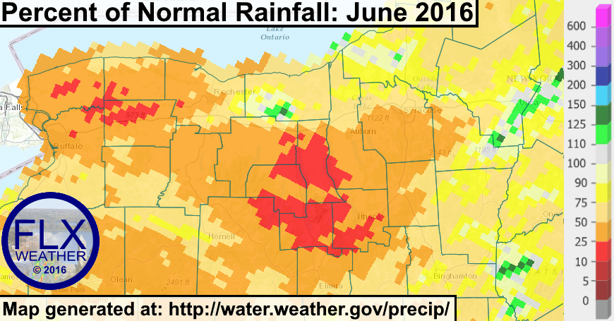 The majority of the Finger Lakes only saw between 10-50% of the normal amount of rainfall during the month of June.