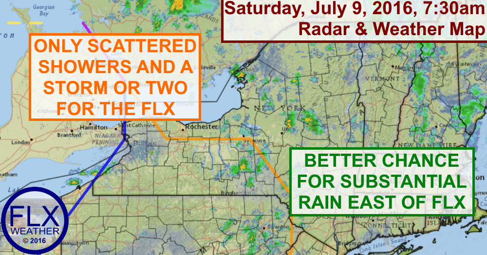 Most areas in the Finger Lakes will not see substantial rain on Saturday.