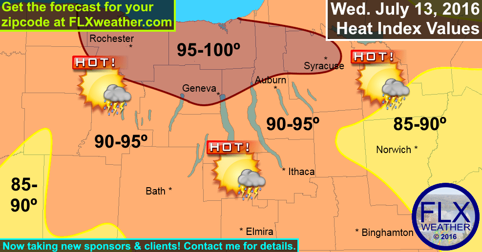 finger lakes heat index map