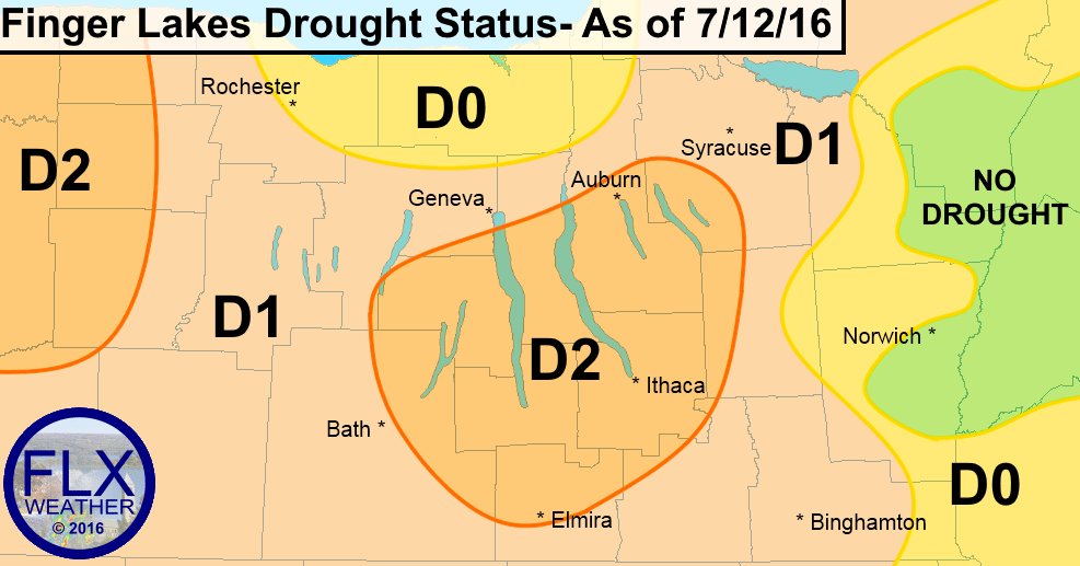 Finger Lakes Drought map july 12 2016