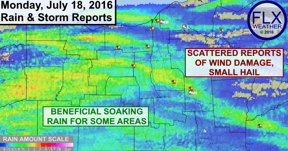 Monday July 18 2016 severe weather and rainfall in the finger lakes