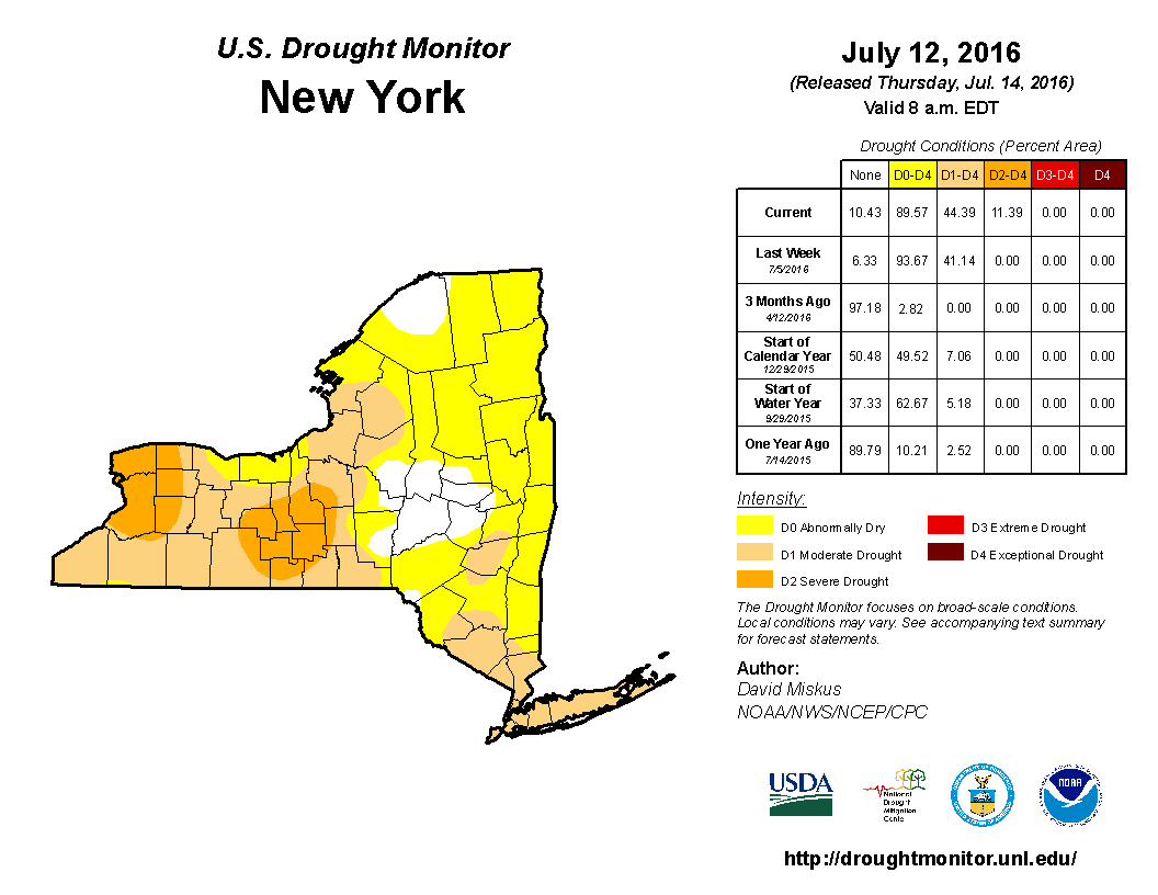 Finger Lakes Drought Report July 15 2016 Finger Lakes Weather