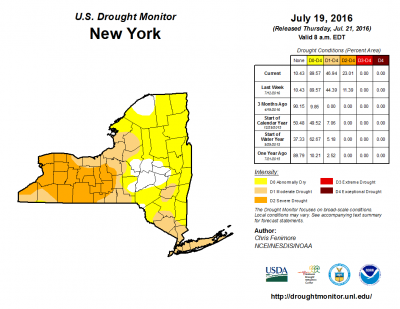 The July 21, 2016 U.S. Drought Monitor Report for New York State.