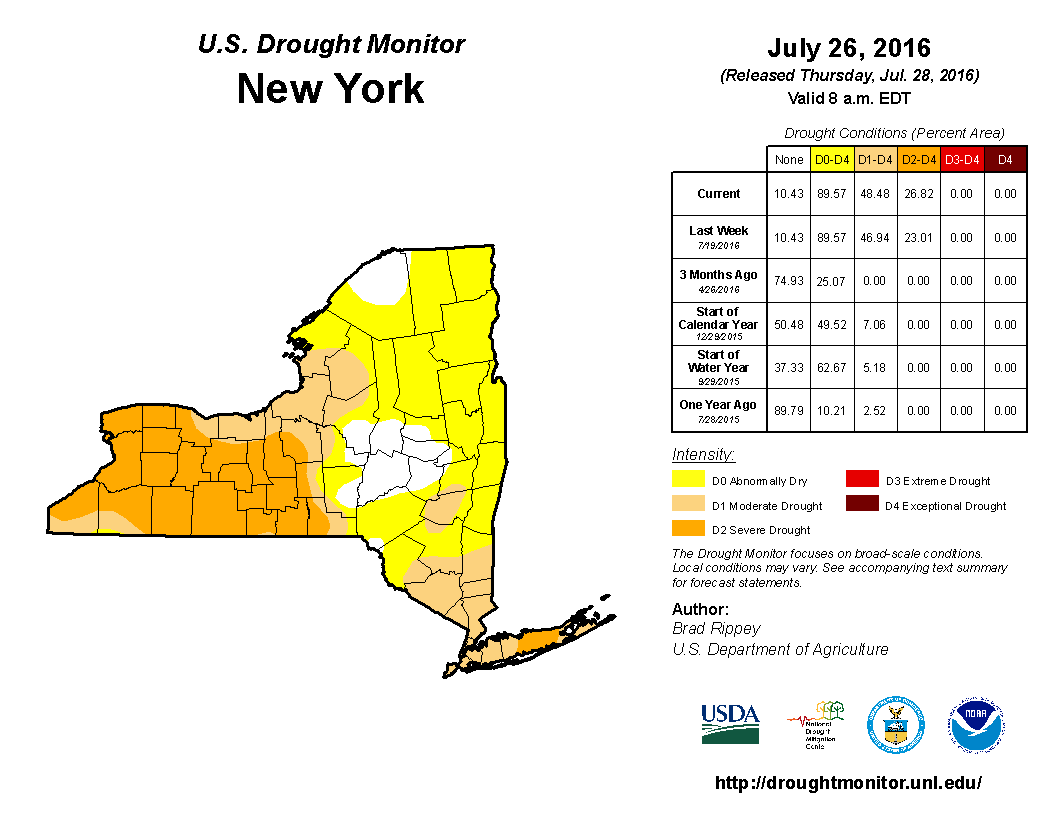 Finger Lakes Drought Report July    Finger Lakes Weather - Us weather map july