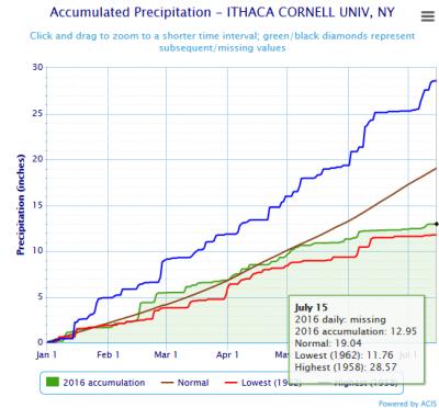ithaca new york rainfall amounts