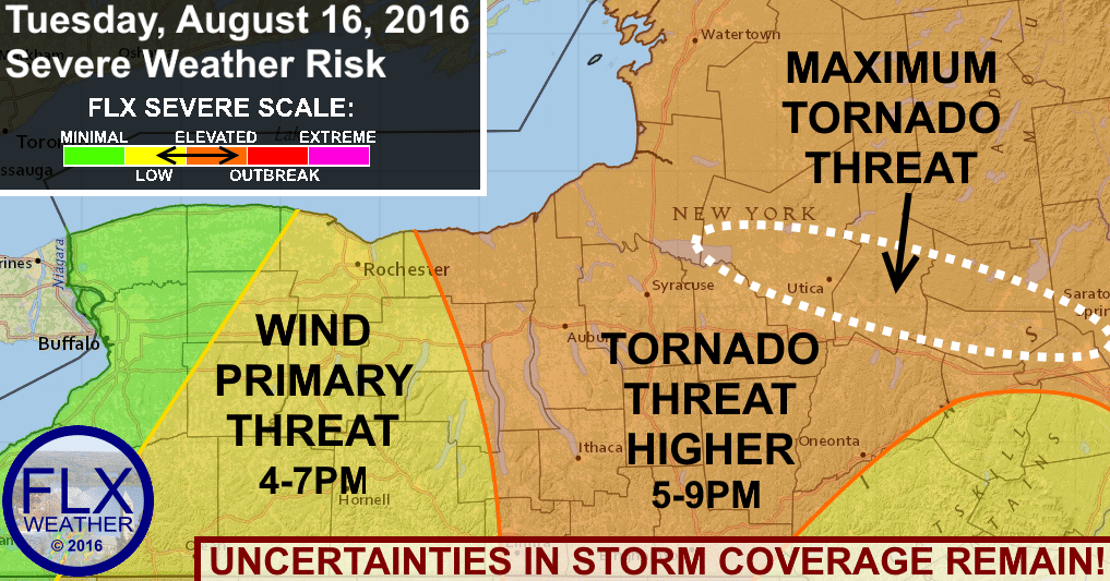 finger lakes severe thunderstorm risk tuesday august 16 2016