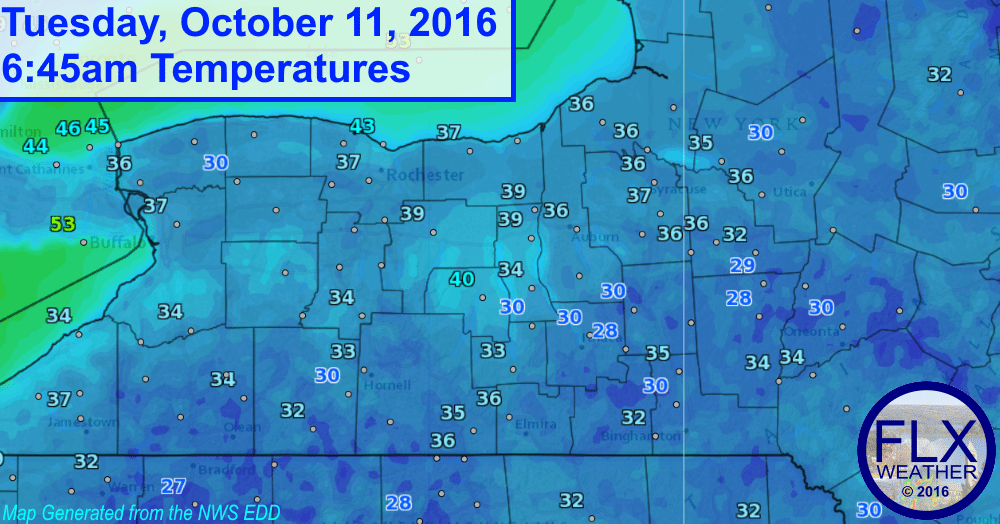 finger lakes morning temperatures october 11 2016