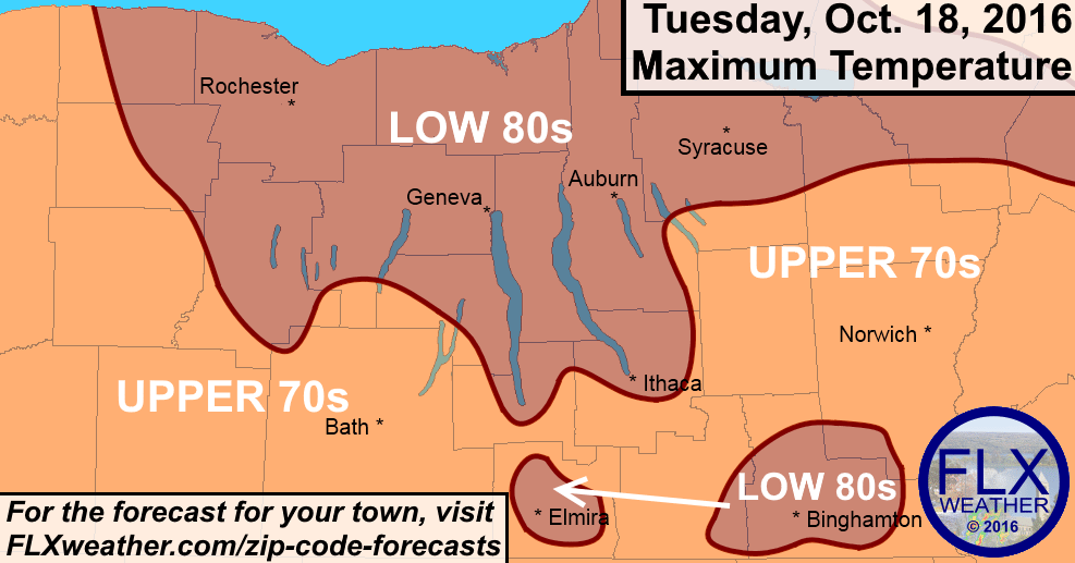 finger lakes, weather, forecast, record warm, pattern change